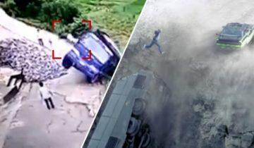 """Китайский водитель избежал падения с обрыва, повторив трюк из """"Форсажа"""""""