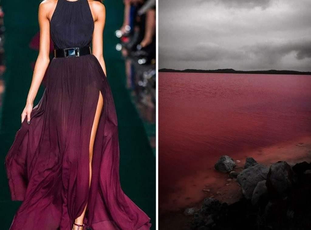Розовое озеро и платье Эли Сааб Осень/Зима 2014-15