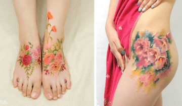 10 цветочных татуировок, похожих на акварельные рисунки