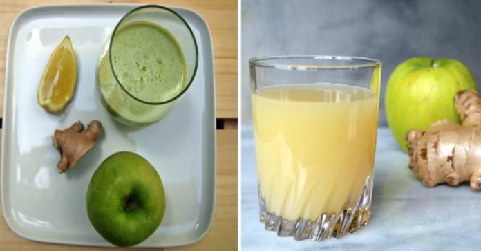 3 сока для чистки толстой кишки: яблоко, имбирь и лимон могут вывести килограммы токсинов из организма!