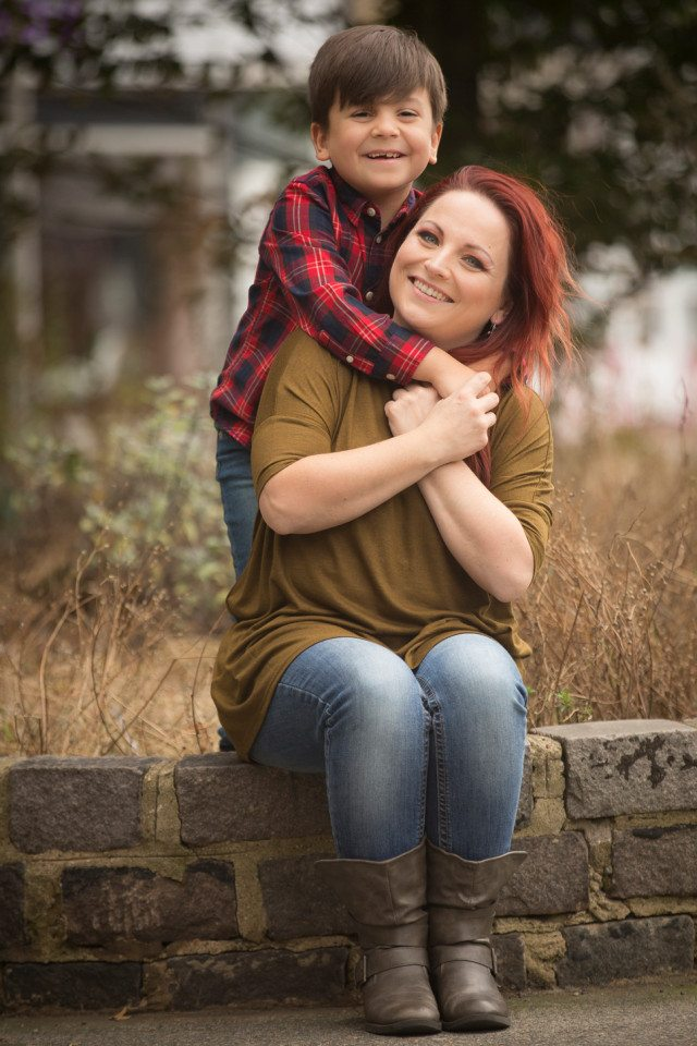 Becky O'Brien and son Toby, who has recovered from meningitis.