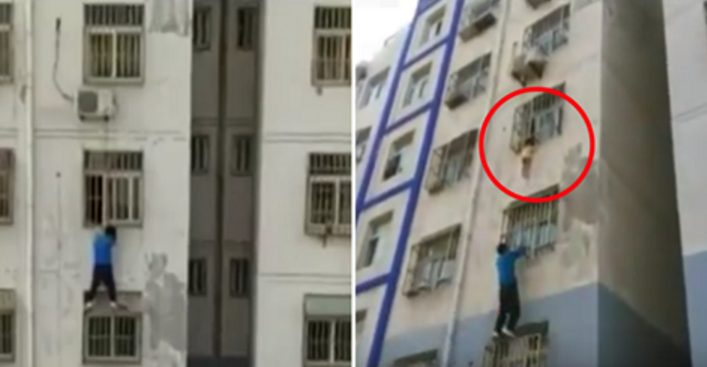 Мужчина без страховки взобрался на 4-й этаж, чтобы спасти ребенка! Современный Человек-паук