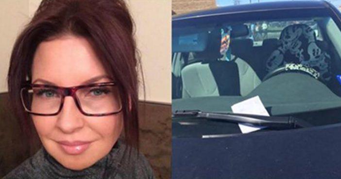 Женщина оставила машину на парковке у бара. На следующий день она нашла на стекле записку с благодарностью