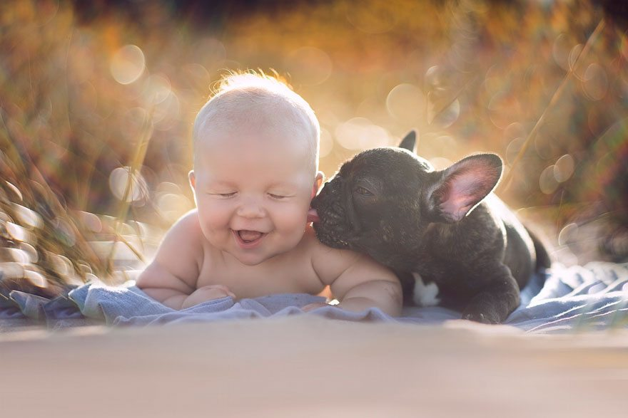 Ребенок и бульдог, родившиеся в один день, думают, что они братья и всё делают вместе
