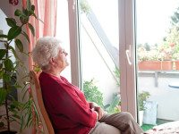 Одинокая бабка в окне