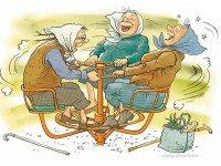 Во дворике у подъезда на лавочке сидят бабульки