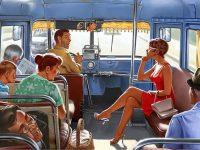 В трамвае сидит симпатичная девушка