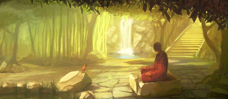 Однажды гуру сидел, погрузившись в медитацию на берегу реки