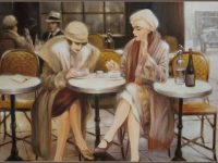 Две женщины сидели за столом, И возле каждой по свече горело.